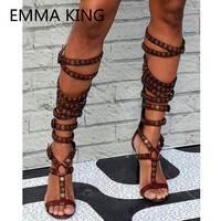 2019 Buckle Metal Button Women Summer Knee High Boots Open Toe Sexy High Heel Ladies Roman Shoes Woman Fashion Gladiator Sandals