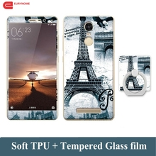3D Cartoon Case For Xiaomi Redmi Note 3 Tempered Glass Film Finger Ring TPU Kickstand Patterned Cover for Redmi Note 3 Case