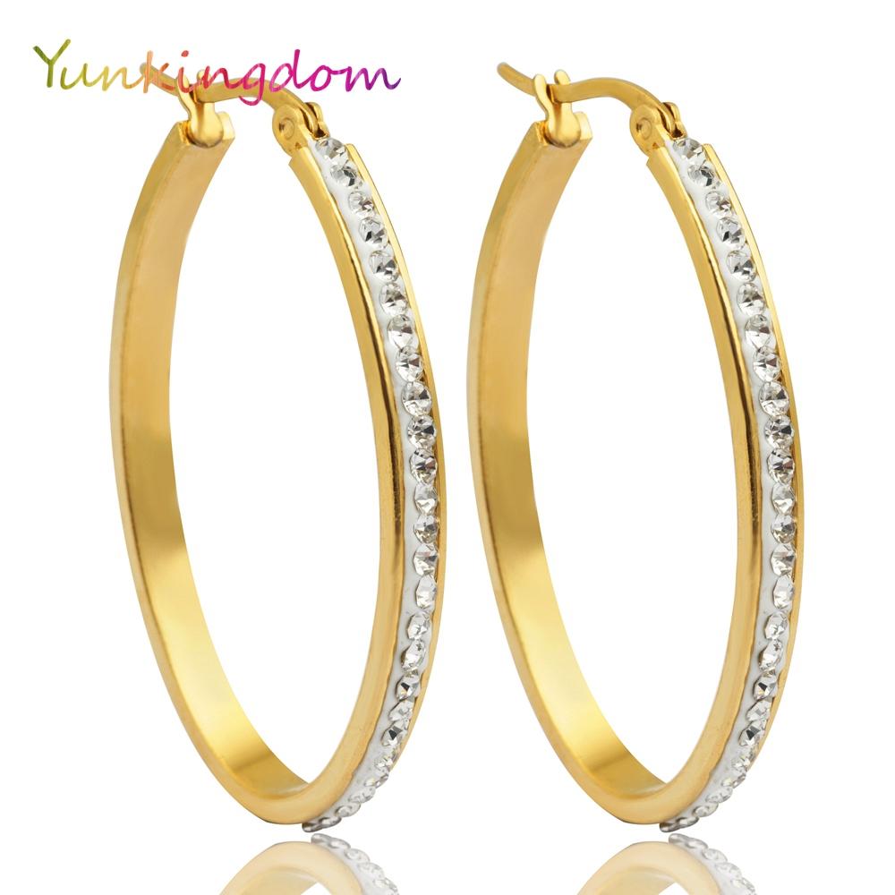Stainless Steel Gold Color Hoop Earrings Female Big Round Circle Charming  Crystal Earrings(china (
