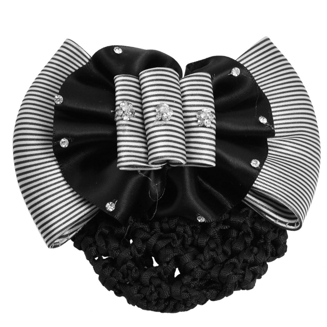 Faux Rhinestone Decor Ruched Bow Hair Clip Snood Net Bun Cover White Black