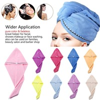 New Brand 9 Pack Set Hair Towel Wrap Turban Microfiber Drying Bath Shower Head Towel with Buttons Dry Hair Hat Wrapped#290850