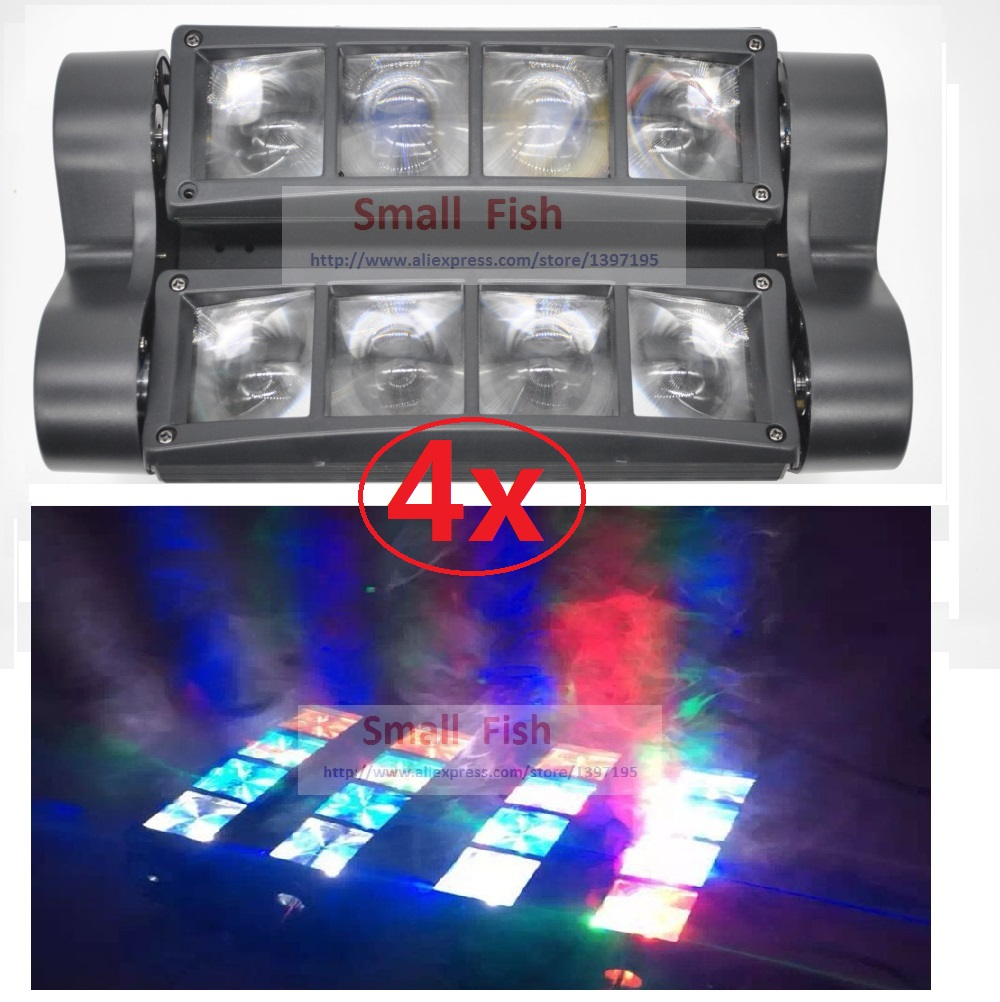 4xLot Free Ship Mini Led Spider Light 8x3W RGBW Single Color Moving Head Light DJ Disco DMX Party KTV Stage Beam Effect Lights 2017 mini led spider 8x10w rgbw color led moving head beam light dmx stage light party club dj disco lighting holiday lights