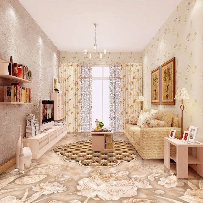 Free Shipping High End Retro Hand Painted Flowers Stone Pattern Parquet Bathroom Kitchen Floor Wallpaper Mural