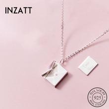 INZATT Настоящее серебро 925 проба кулон конверт ожерелье для элегантных женщин романтические изысканные ювелирные украшения в подарок