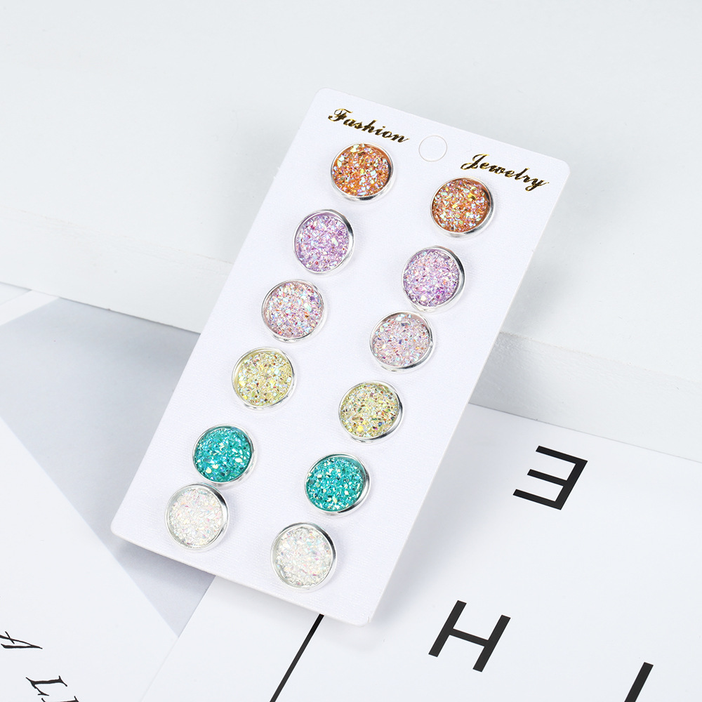 6 Pairs/Set Women's Shiny Resin Ear Stud With Round Bling Druzy Stone For Girls Cute Earrings Set 2019 Fashion Jewelry