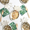 8PCS/Lot Gold Pineapple Disposable Tableware Kids Birthday Favor Paper Plates Hawaii Luau Party Decoration Baby Shower Supplies
