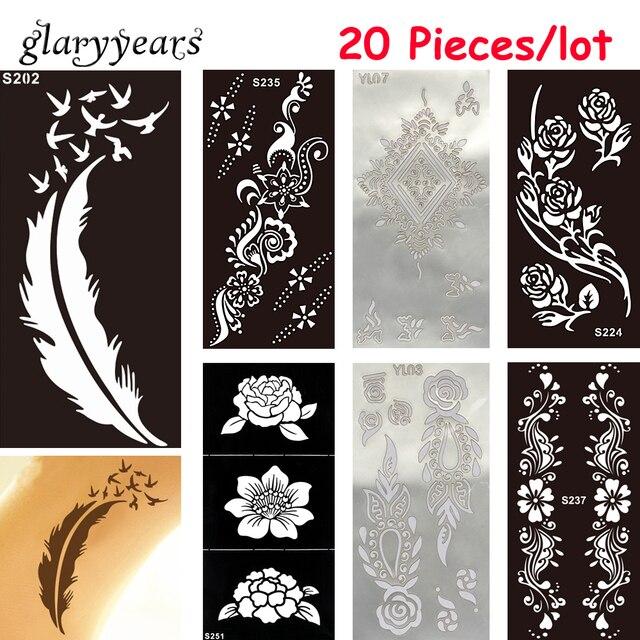 138d1d06e 20 Pieces/lot Medium Hollow Henna Tattoo Stencil Women Man Back Waist Body  Art Airbrush