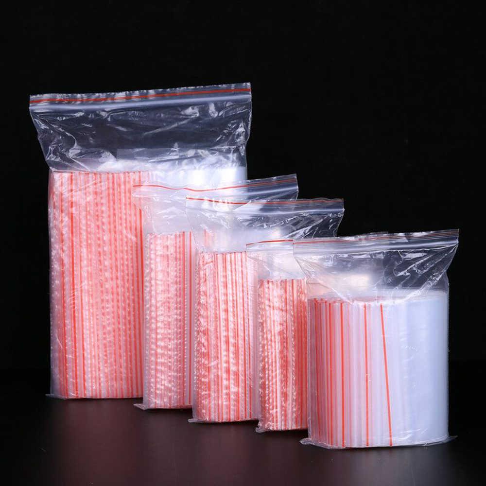 100pcs/pack Small Zip Lock Plastic Bags Reclosable Transparent Bag Shoe Bag Vacuum Storage Bag Poly Clear Bags Thickness 0.05mm