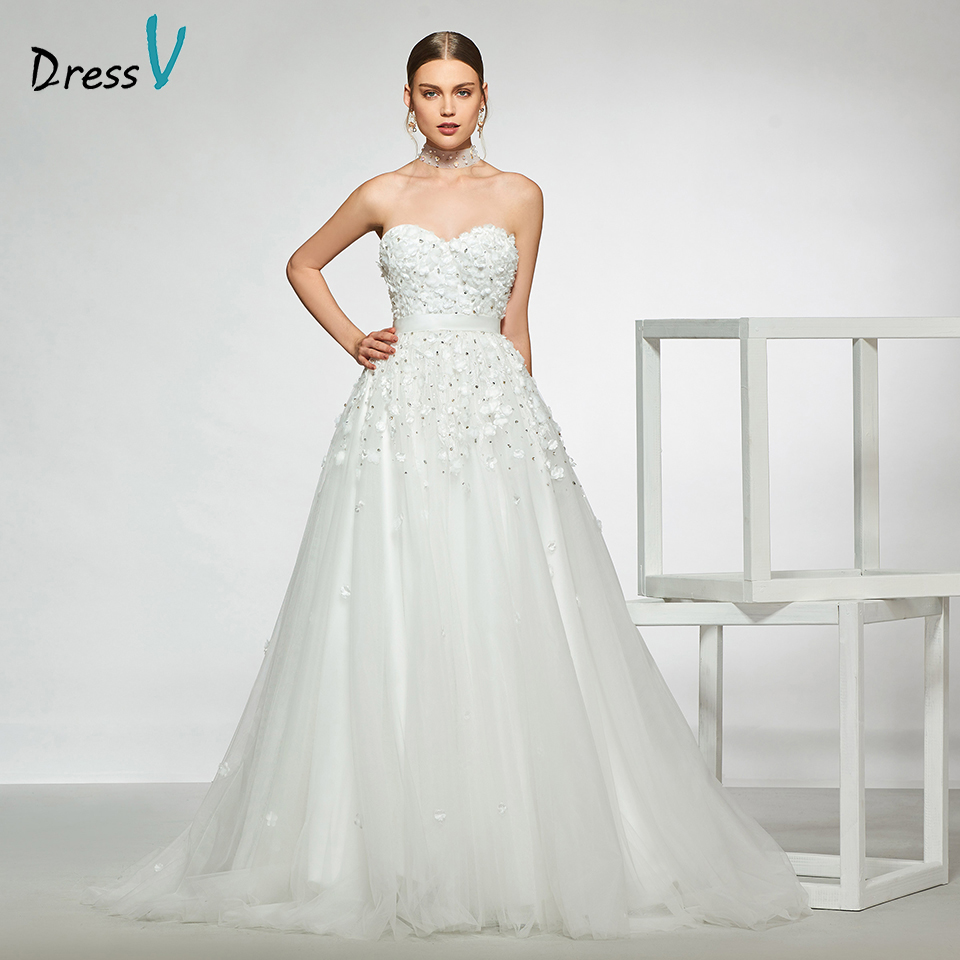Dressv elegant sample sweetheart neck wedding dress appliques beading a line floor length simple bridal gowns wedding dress