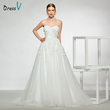 Dressv elegant sample sweetheart neck wedding dress appliques beading a line floor length simple bridal gowns