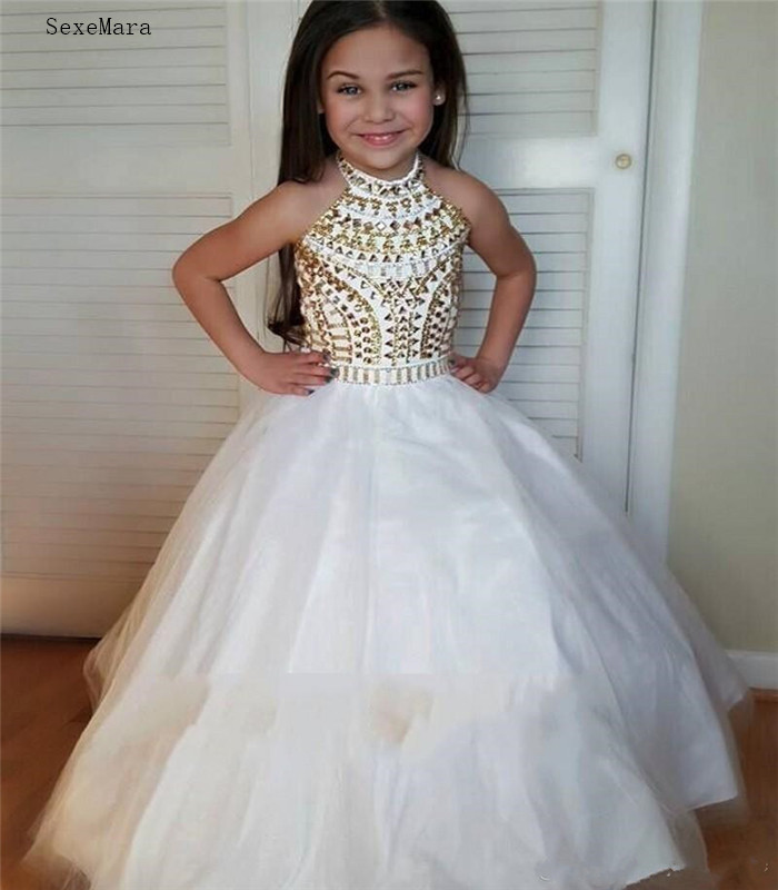 White Ball Gown  Pageant Dresses High Neck Halter Gold Crystal Tulle Backless Toddler Little Girls Pageant Dresses For Junior