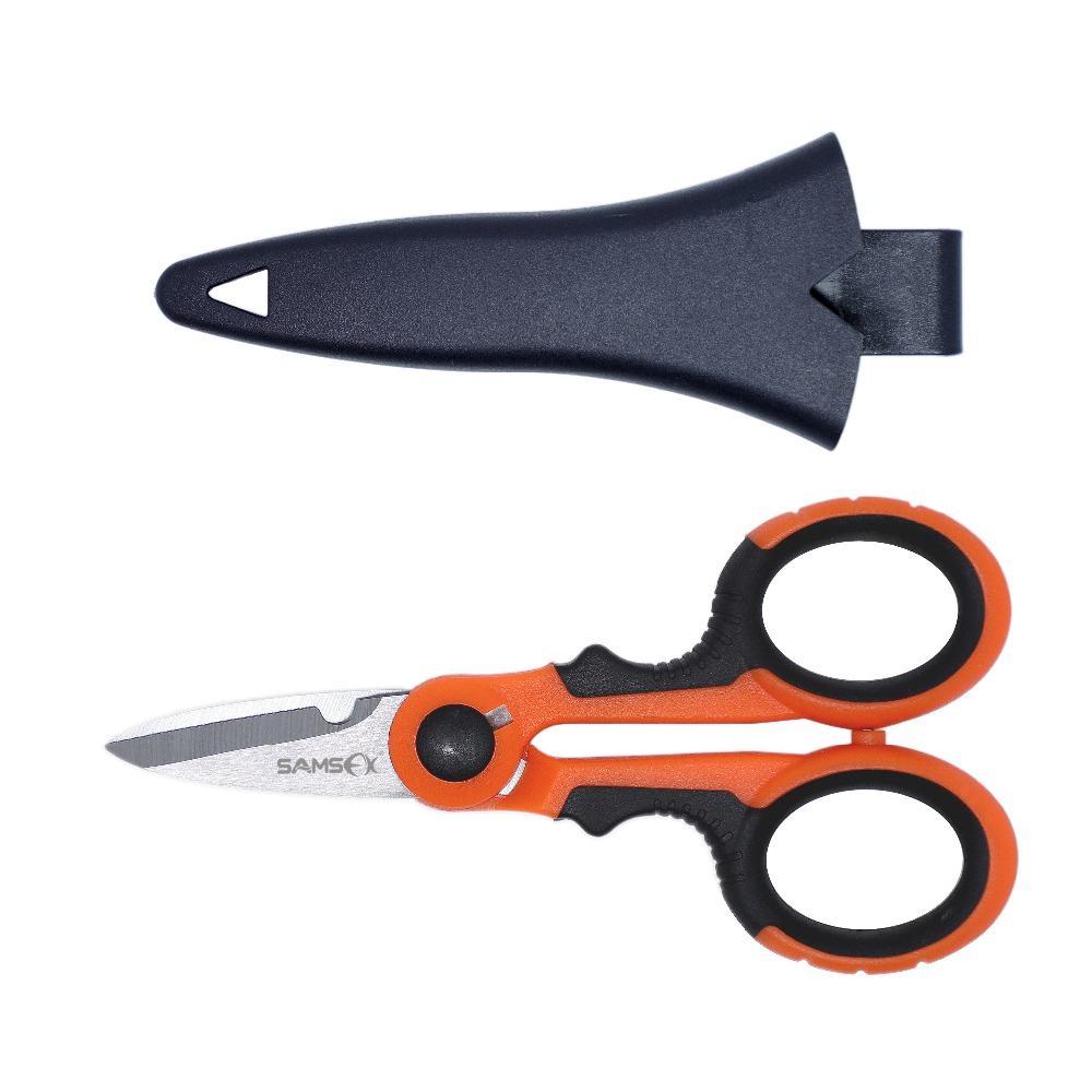 US $5 87 58% OFF SAMSFX Fishing Scissors Heavy Duty Braid Line Cutter Snip  Clipper Storage Case Sheath Multifunction Portable Fishing Tools 5 7