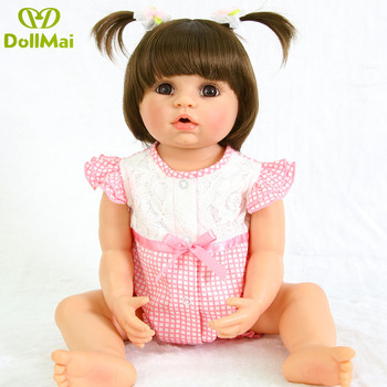 Silicone Full Body Reborn Dolls 22'' Realistic Handmade Baby Dolls girl Fashion Kids Toy Waterproof Boneca Model Birthday Gifts 1