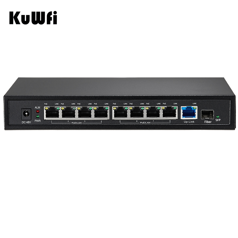 KuWfi 48V PoE Switch 9 Port 10/100/1000M Gigabit Switch with SFP Fiber Port Wireless AP Controller Manage for Networking Project manage enterprise knowledge systematically