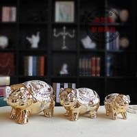 Позолоченная керамика ремесла туба семьи из трех симпатичных свинья Фортуна благоприятный украшения SF99205