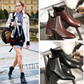 Genuine leather Black Round toe square Low-heels women fashion Ankle boots Autumn Western Ling Pig femal shoes Big Size 34-41