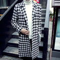 2015 Fashion X-long Woolen Coat Men England Style Plaid Turn-down Collar Dustcoat Long Trench Coat Mens Outdoor Blends Peacoat