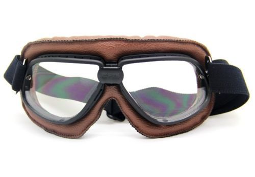 a9cd2d5e462f Cool handsome Brown frame Transparent lens cross-country Pilot Cruiser  Motorcycle Bike Tactical Goggle Aviator Goggles T11