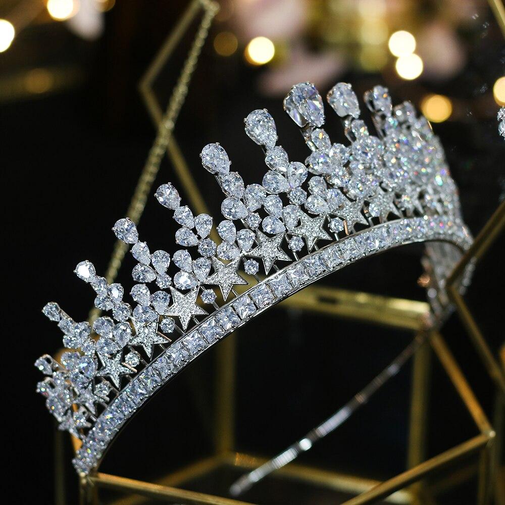 2019 European new stars water drops zirconia bride big crown princess birthday crown banquet wedding dress with accessories