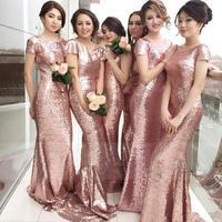 Шикарное розовое золото, с пайетками Русалка Длинные свадебные платья в пол Длина Свадебная вечеринка платье Бесплатная доставка экспресс