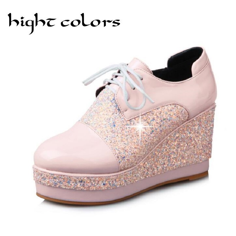 Spring Women Platform Shoes Woman Brogue Patent Leather  Lace Up Footwear Female Wedges Oxford High Heels Shoes For Women 32-43 n11 brand 2017 spring women platform shoes woman brogue patent leather flats lace up footwear female flat oxford shoes for women
