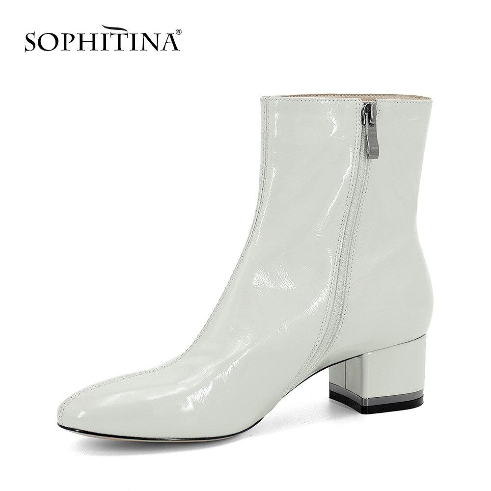 SOPHITINA rose bottines de haute qualité à la main marque femme chaussures talons carrés blanc en cuir verni chaud court en peluche bottes PB85 - 4