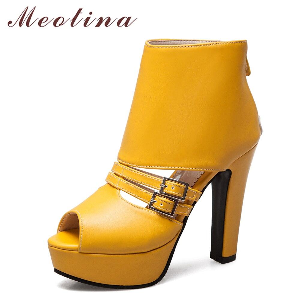 Meotina Women Pumps High Heels Platform Shoes Peep Toe Buckle Zip 2018 Spring Spike Heels Ladies