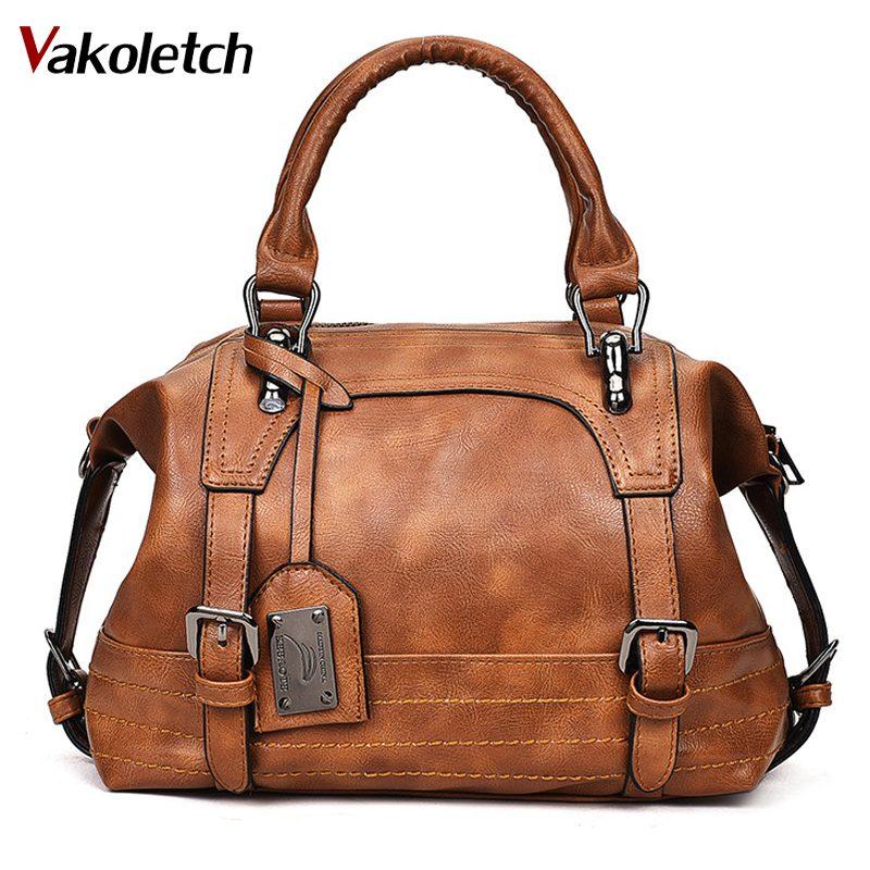 Bolsa feminina 2019 do vintage bolsa de ombro feminina bolsas de couro macio crossbody sacos para senhoras boston bolsa feminina kl279
