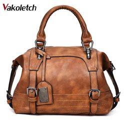 Women Bag 2019 Vintage Shoulder Bag Women Handbags Soft Leather Crossbody Bags For Women Ladies Boston Bolsa Feminina KL279