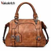 Sac femme 2019 Vintage sac à bandoulière femmes sacs à main en cuir souple sacs à bandoulière pour femmes dames Boston Bolsa Feminina KL279