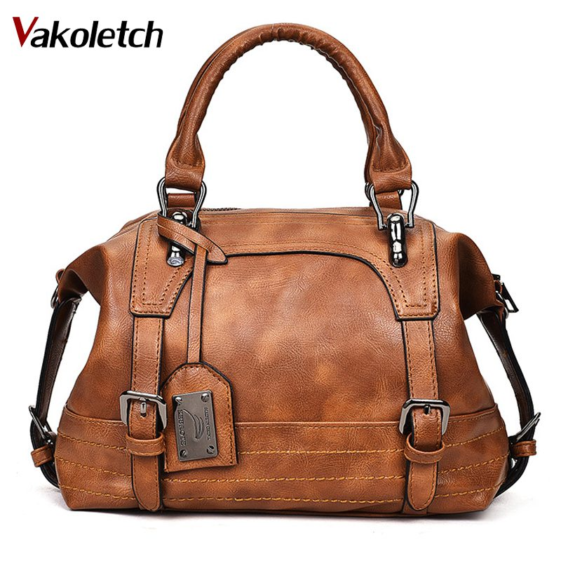 Women Bag 2019 Vintage Shoulder Bag Women Handbags Soft Leather Crossbody Bags For Women Ladies Boston Bolsa Feminina KL279
