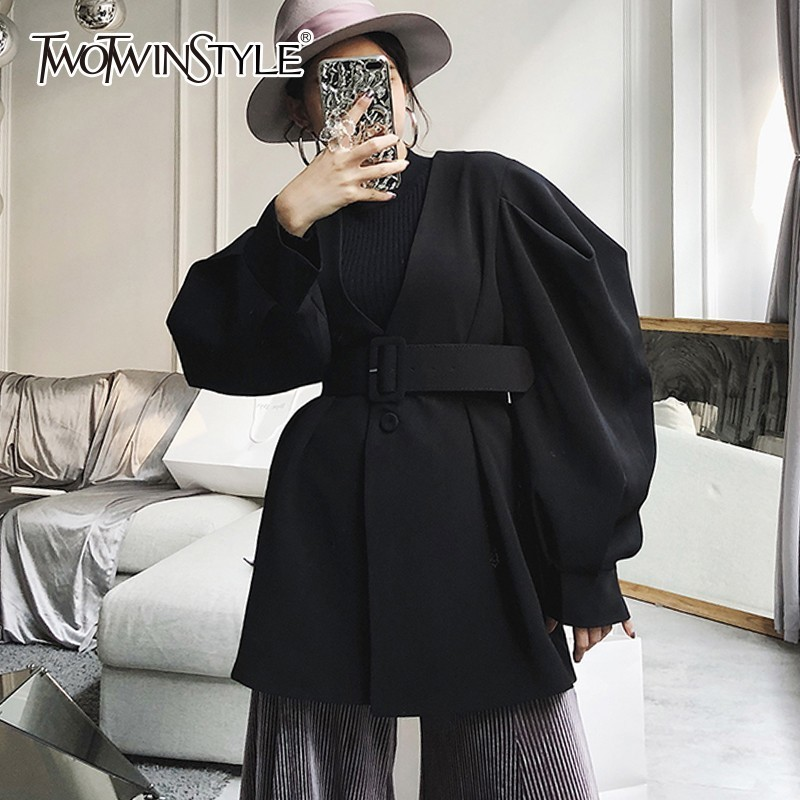 TWOTWINSTYLE Lace Up   Trench   Coat For Women's Windbreakers V Neck High Waist Puff Sleeve Coats Female Autumn 2018 Korean Fashion