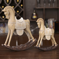 Living Room American Country Style Retro Trojan Horse Decoration Home Resin Decoration Model Window Classic Vintage Ornament