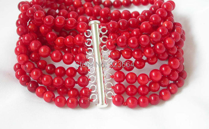 8'' Stunning 8strands red coral bracelet bangle silver