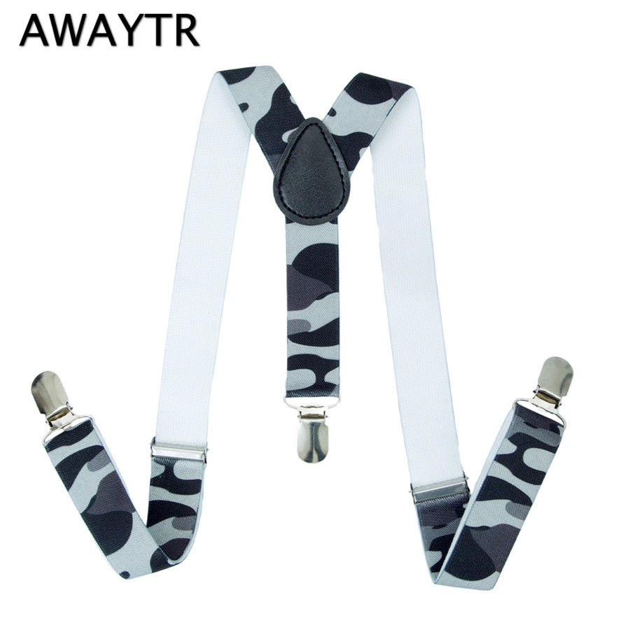 AWAYTR Suspender Baby Boy Suspenders Print Elastic Braces 3 Clips 2.5cm Width Cute Straps Fashion Wedding Clothing Accessories