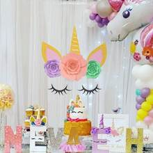 Unicorn Party Decors Unicorn Horn Eyelashes Ear Kids Birthday Party Unicorn Decoration Baby Shower DIY Party Backdrop Supplies(China)