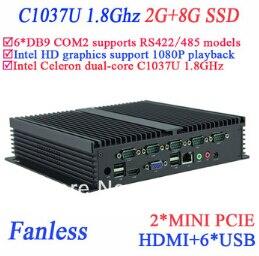 Industrial IPC sin ventilador mini pc 2 G RAM 8 G SSD INTEL Celeron c1037u 1.8 G