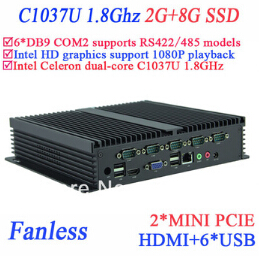 Industrial IPC Fanless Mini Pc 2G RAM 8G SSD INTEL Celeron C1037u 1.8 GHz 6*COM VGA HDMI RJ45 Windows Or Linux