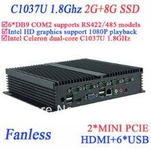 Промышленные мпк безвентиляторный 2 г оперативной памяти 8 г SSD INTEL Celeron c1037u 1.8 ГГц 6 * COM VGA микро-hdmi RJ45 окон или Linux
