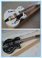Factory Custom Shop NASHVILLE Gretsch Black & White Falcon 6120 Hollow Body Jazz Electric Guitar with Tremolo Golden Hardware