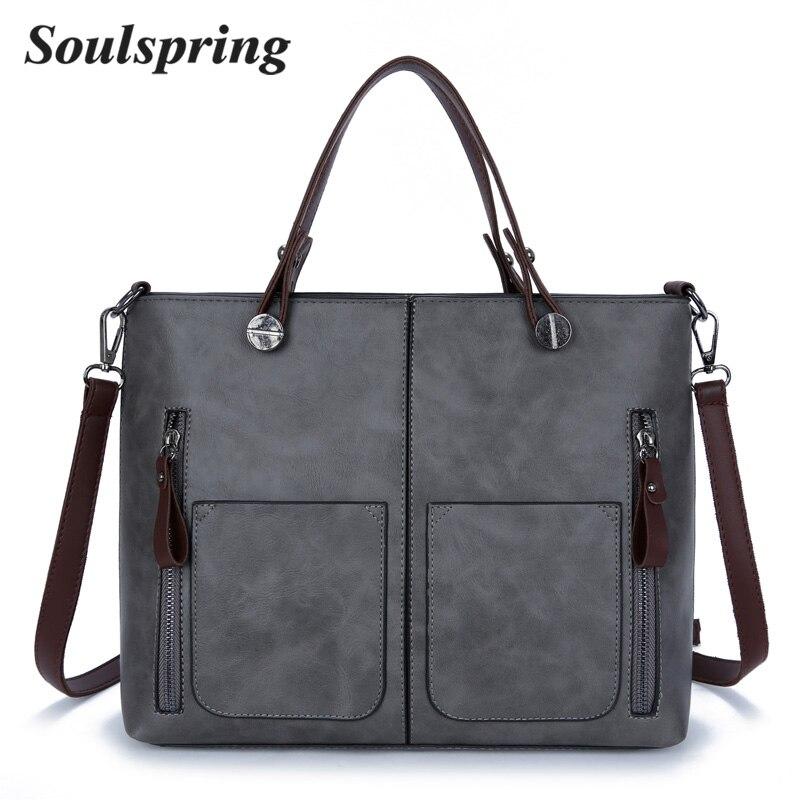 Vintage Brand Women Shoulder Bag Solid Designer Handbags High Quality Ladies Hand Bags Double Zipper Leather Bags Women Tote Sac