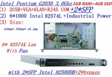 2G RAM 4G SSD InteL G2030 three.0G 1U firewall server with 6*intel 1000M 82574L Gigabit LAN 2*SFP 2*bypass help ROS RouterOS and so forth
