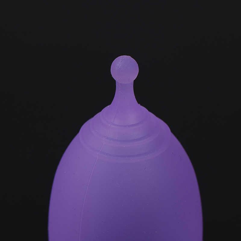 1 Pc 월경 컵 숙녀 기간 위생 재사용 할 수있는 컵 의학 급료 연약한 실리콘 달 2 크기 무작위 색깔