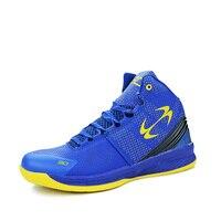 Hombres Zapatillas de Baloncesto Antideslizante Niñas Zapatos de Deporte de Absorción de Choque Zapatos de Baloncesto de Los Hombres Y Mujeres Azules Zapatos de Hombres Trainning