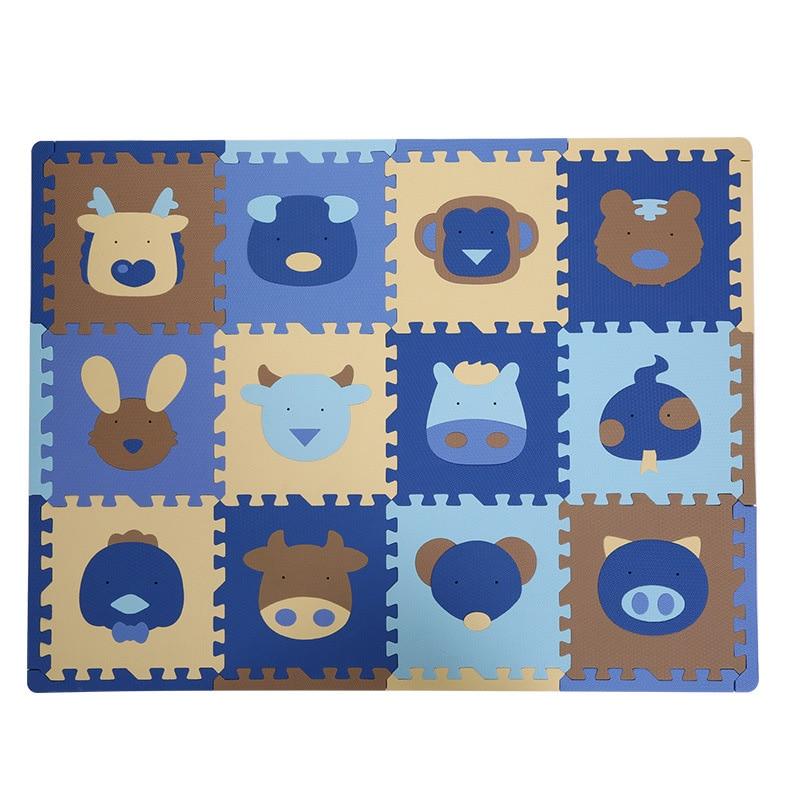 12pcs/set Kawaii Baby Playmat Cartoon Animal Soft EVA Foam Puzzle Play Mat Floor Crawling Carpet for Children Kids 30x30x1.3 cm