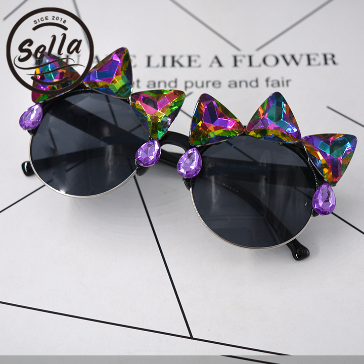 Sella 2017 estilo europeo Retro mujeres gato ojo gafas de sol flor Shinning Sexy exagerada discoteca fiesta gafas