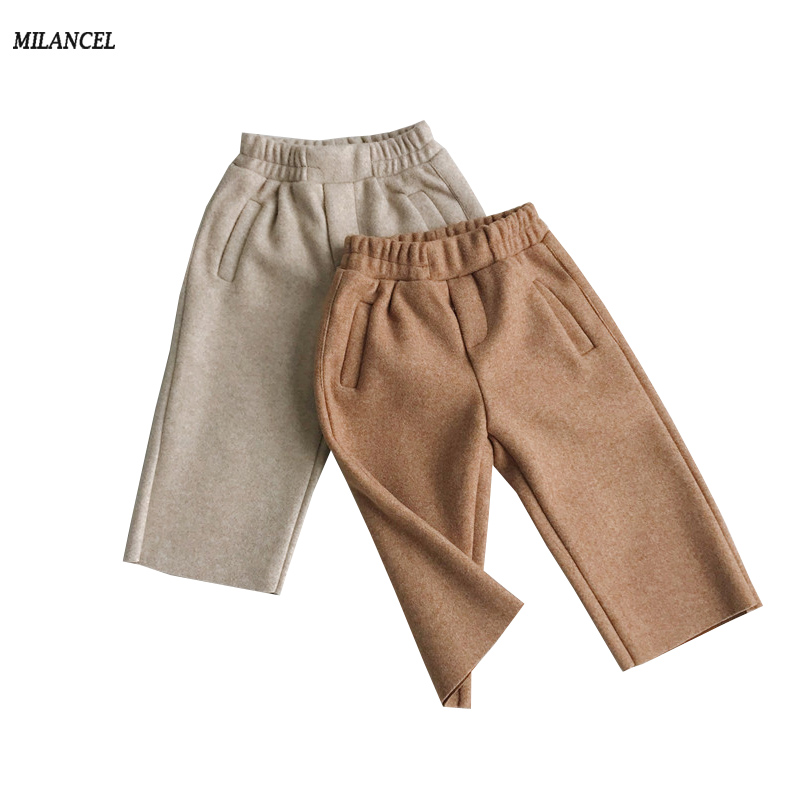 MILANCEl 2018 Kids Pants Solid Girls Trousers Winter New Boys Clothing Wide Leg Pants for Boys plus size palazzo wide leg capri pants