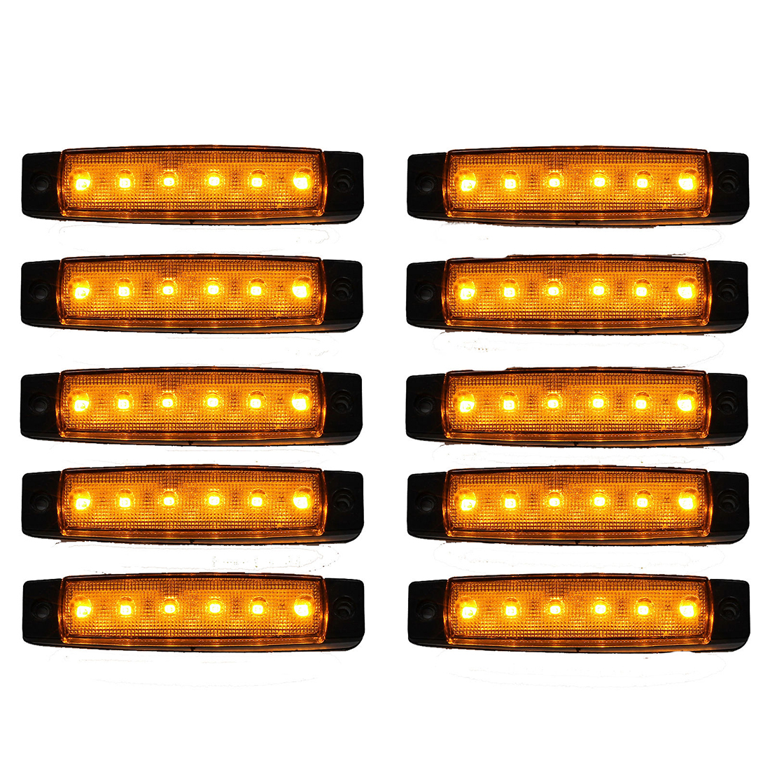 10pcs 12V 6 LED SMD LED Auto Car Bus Truck Wagons Side Marker Indicator Trailer Light Rear Side Lamp cyan soil bay 10pcs 3led amber waterproof side marker lights clearance lamp trailer truck bus car 3 led 12v 24v