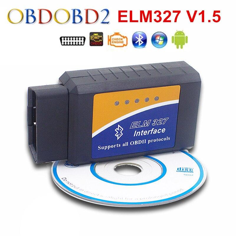 El más nuevo ELM327 Bluetooth OBDII V2.1 ELM 327 CAN-BUS escáner de diagnóstico de coche para Android Torque 9 tipos de protocolos OBD2 envío gratis Super Mini Elm327 Bluetooth OBD2 V1.5 Elm 327 V 1,5 OBD 2 herramienta de diagnóstico del coche escáner Elm-327 OBDII adaptador herramienta de diagnóstico automático