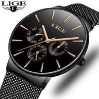 Mens Watches LIGE Top Brand Luxury Waterproof Ultra Thin Date Clock Male Steel Strap Casual Quartz